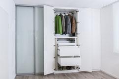 Tischlerei Feinschliff, Drehtüren, Schiebetüren, Bänder 155°, Kleiderlift, Schubladen