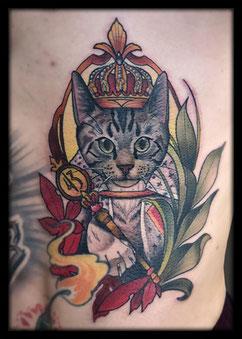 neo traditional tattoo köln Herr Eckart Cat King