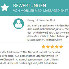 Referenzen & Bewertungen - Mobile Massage - Jutta Rudolph