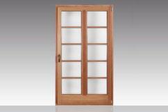 Holz-Alu-Balkontür Classic-Lärche farblos  Innenansicht