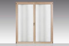 Holz-Alu-Balkontür Classic modern - Fichte farblos / Innenansicht