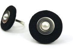 Filzring schwarz mit Perle