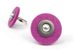 Filzring pink mit Perle