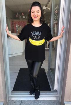 Shirt mit Banane Pailletten Banana Smile rosa weiß grau schwarz