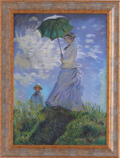 donna con parasole, copia d'autore C.Monet, olio su tela cm 50x70, 2014