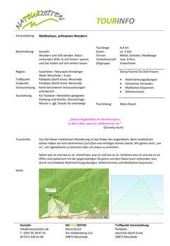 Tourinfo - Meditatives, achtsames Wandern; A4 Infoblatt