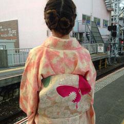 紬 お花見コーディネート 着物 きものレッスンさくらさくら kimono