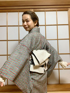 洋服ミックス ウール着物 半幅帯 カジュアル着物 きものレッスンさくらさくら kimono