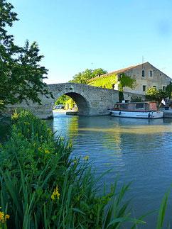 le pont de pierre en dos d'âne à une arche en plein cintre construit avant 1683