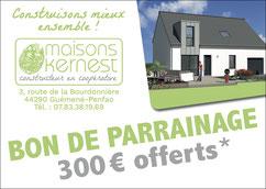 bon de parrainage de 300 euros offerts pour toute recommandation qui aboutit à un chantier