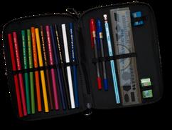 Crayons de couleur, règle, gomme, ...
