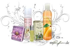 myrefam/refan-adventskalender 2014 geschenkset-duschgel-melon,body misst-rosa alba,passion fruit peeling schwamm,tea tree.