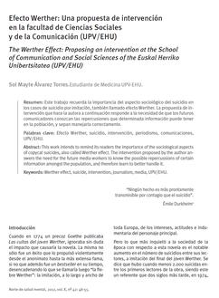 Efecto Werther: Una propuesta de intervención en la facultad de Ciencias Sociales y de la Comunicación (UPV/EHU).