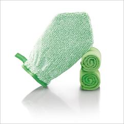 Fenster-Set Handschuh Art.Nr. 7220 • Reinigungshandschuh, grüne Faser • Profituch 40x45 cm, grün • Trockentuch mittel 45x60 cm, grün • inkl. Klickbox
