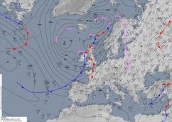 Bodenwetterkarte einer antizy. Südwestlage. | Bildquelle: Deutscher Wetterdienst