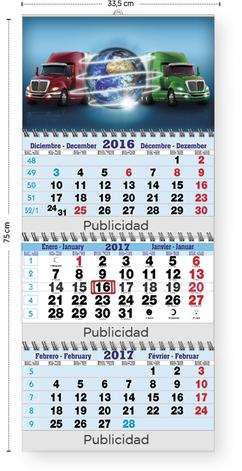Calendario publicitario 3 meses plegable mediante alambre Wire-O