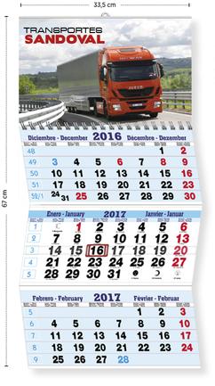 Calendario publicitario 3 meses plegable