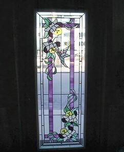 鳥と花のステンドグラス
