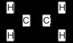 Ethen als Beispiel für Alkene in Strukturformelschreibweise.