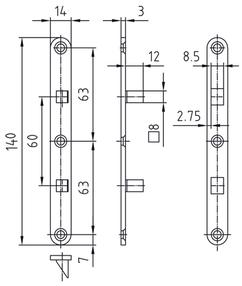 Türbandsicherung GLUTZ 1309, Plattengrösse 14x140 mm