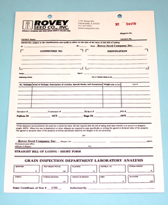 delivery ticket, grain inspection form, carbonless sets