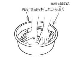 洗面器の水を取り替え数回ススギます。目安は3~4回です。洗剤の量、よごれの度合により変わります。