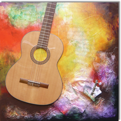 Gemälde, Leinwand, Kunst, art, Augenfreud, Original, Unikat, Acryl, Musik, Gitarre, Malerei, abstrakt, bunt, Collage, Noten