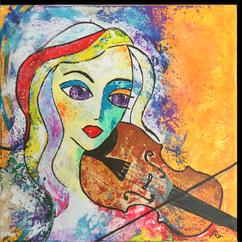 Gemälde, Leinwand, Kunst, art, Augenfreud, Original, Unikat, Acryl, Musik, Geige, Geigerin, Musik, Malerei, abstrakt, bunt
