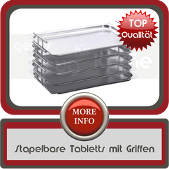 Stapelbare Tabletts mit Griffen
