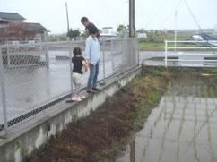 市民農園に通う子と共に遊ぶ様子