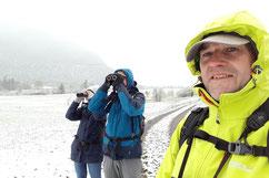 """Das Team """"Tiroler Oberlandler"""" freute sich über den ersten selbst erlebten Schneefall bei einem BirdRace!"""