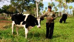 Mein Nachbar Jorge mit seiner Kuh