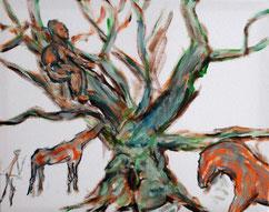 Baum, Frau, Mann, Mensch, Pferd, Giraffe