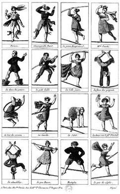 """Les danseurs de corde, 16 vignettes : Forioso, l'incomparable Ravel, la jeune Hongroise, Me Saqui et leurs tours d'adresses - 19e s. - catalogue """"Le cirque"""" 337, BNF"""