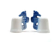 Dedal de porcelana caballito de mar azul