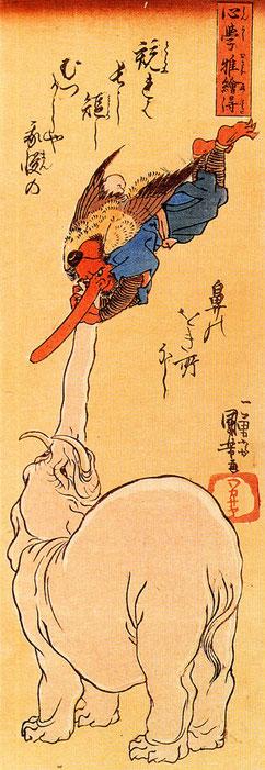 Elefant mit fliegendem Tengu, Japanese Tattoo, Fabelwesen, Japan Mythologie, Japantattoo, Motive japanischer Tattoos, Tätowiersymbolik, Noh-Theater, krähenartige Kreatur, Dämon