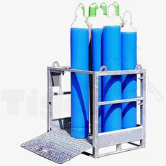 Gasflaschenpalette GFP-12 mit Auffahrrampe