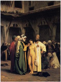 Une jeune fille slave est vendue comme esclave au marché. Tableau de Jean-Léon Gérôme. Temple de Paris