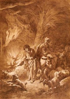 Jean-Baptiste Huet, Paysans voyageant la nuit avec leur troupeau. Encre et lavis de sépia sur papier Abbeville, Musée Boucher-de-Perthes © Bruno Jagerschmidt