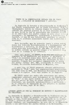 Prohibición dictada por el ICAIC II