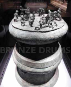 Fig. 6. Cowrie container over a drum (Yunnan Provincial Museum) from Dian tombs (H80/D40 cm) with battle scenes.