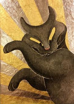 「あらびっくり!」墨(油煙墨)・錫箔・純金箔・岩絵の具(珊瑚)・純金泥 F4