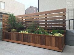 フェンス、木製フェンス、イタウバ、プランター、花壇、施工例
