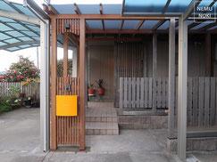 フェンス、木製フェンス、パーゴラ、イタウバ、ポリカーボネート屋根、ポスト、照明、真鍮金物、施工例