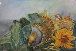 zonnebloemen(3) 40/60 ( aquarel )(verkocht)
