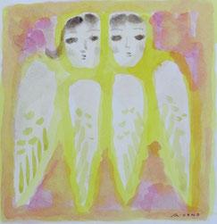 Angels   14×14cm   Aqyla on paper   2014