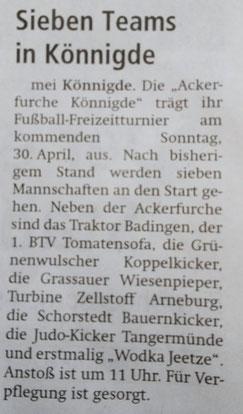 Altmark-Zeitung vom 25.04.2017, von Maik Bock