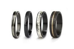 Alianzas negras de circonio anodizado combinadas con oro, platino, plata... Alianzas exclusivas y duraderas