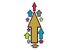 Bild zu Baustein Führungsqualität im Führungskräftetraining Fit for Leadership, sortierte Pfeile