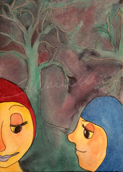 Illustration, Aquarell, zwei Kinder mit Kapuze in der Dämmerung, im Hintergrund ein Baum